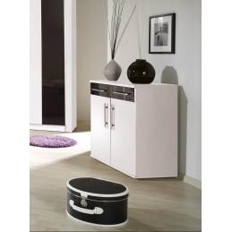 Chambre à coucher complète DUBLIN adulte design blanche. Lit 160x200 cm + armoire + commode + 2 chevets
