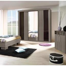 Armoire, garde robe DUBLIN trois portes coulissantes. Coloris cardiff cherry et noir brillant. Meuble pour chambre à coucher.