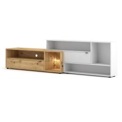 Ensemble meuble TV ROCK 240 cm. Coloris chêne et blanc