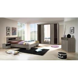 Chambre à coucher complète DUBLIN adulte design cardiff. Lit 160x200 cm + armoire + commode + 2 chevets