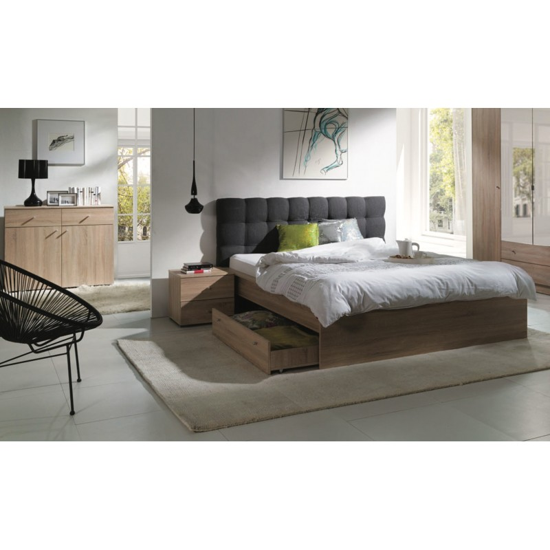 ensemble pour chambre coucher maxim lit adulte deux places 160x2. Black Bedroom Furniture Sets. Home Design Ideas