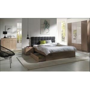 Chambre à coucher complète MAXIM. Lit adulte 160x200 cm + tiroir + sommier + chevets + commode + armoire/garde robe
