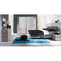 Chambre à coucher complète RICCARDO. Lit, sommier, tables de chevets, commode, armoire 200 cm avec portes coulissantes