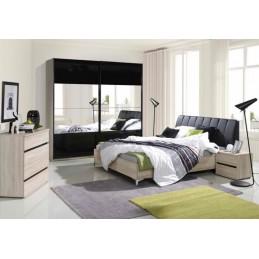 Ensemble Lit adulte 160x200 cm + Tête de lit + chevets + sommier SARAGOSSA noir et blanc brillant. Meuble pour chambre à coucher