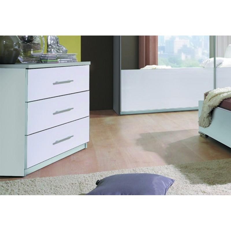 Commode design VERONA 3 tiroirs blancs brillants. Meuble pour chambre à coucher