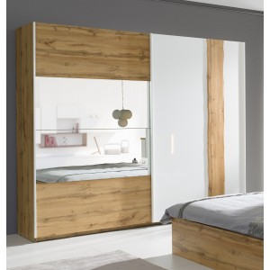 Armoire, garde robe WOOD deux portes coulissantes 250 cm. Coloris chêne et blanc brillant. Meuble pour chambre à coucher