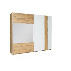 Chambre à coucher complète WOOD chêne et blanc. Lit coffre + armoire + commode + 2 chevets