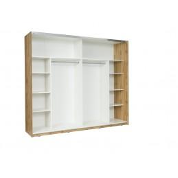 Chambre à coucher complète WOOD chêne et blanc. Lit COFFRE 160x200 cm + sommier + armoire 200 cm + commode + 2 chevets