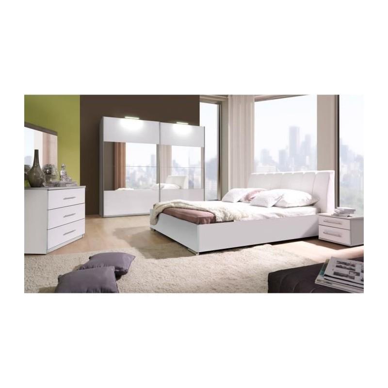 Ensemble lit design en simili cuir avec 2 chevets et une commode VERONA. Meuble design pour chambre à coucher