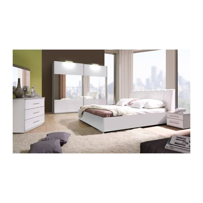 ensemble lit design en simili cuir avec 2 chevets et une commode ve. Black Bedroom Furniture Sets. Home Design Ideas
