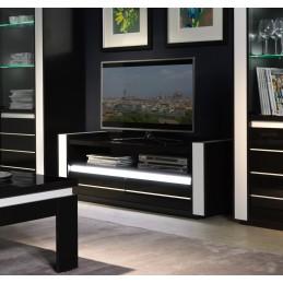 Meuble tv LINA noir et blanc brillant + LED