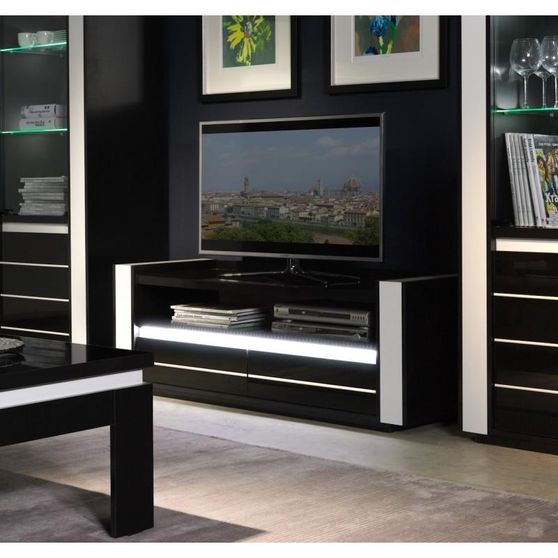 Meuble tv lina noir et blanc brillant led 299 00 - Meuble tv noir brillant ...