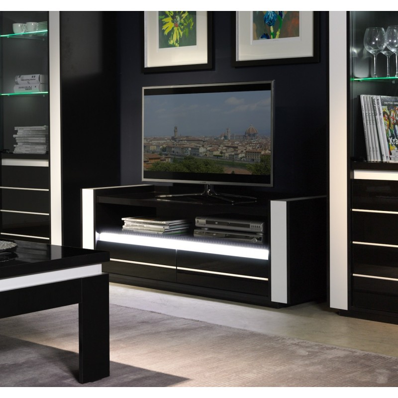 salon meuble tv lina noir et blanc brillant led. Black Bedroom Furniture Sets. Home Design Ideas