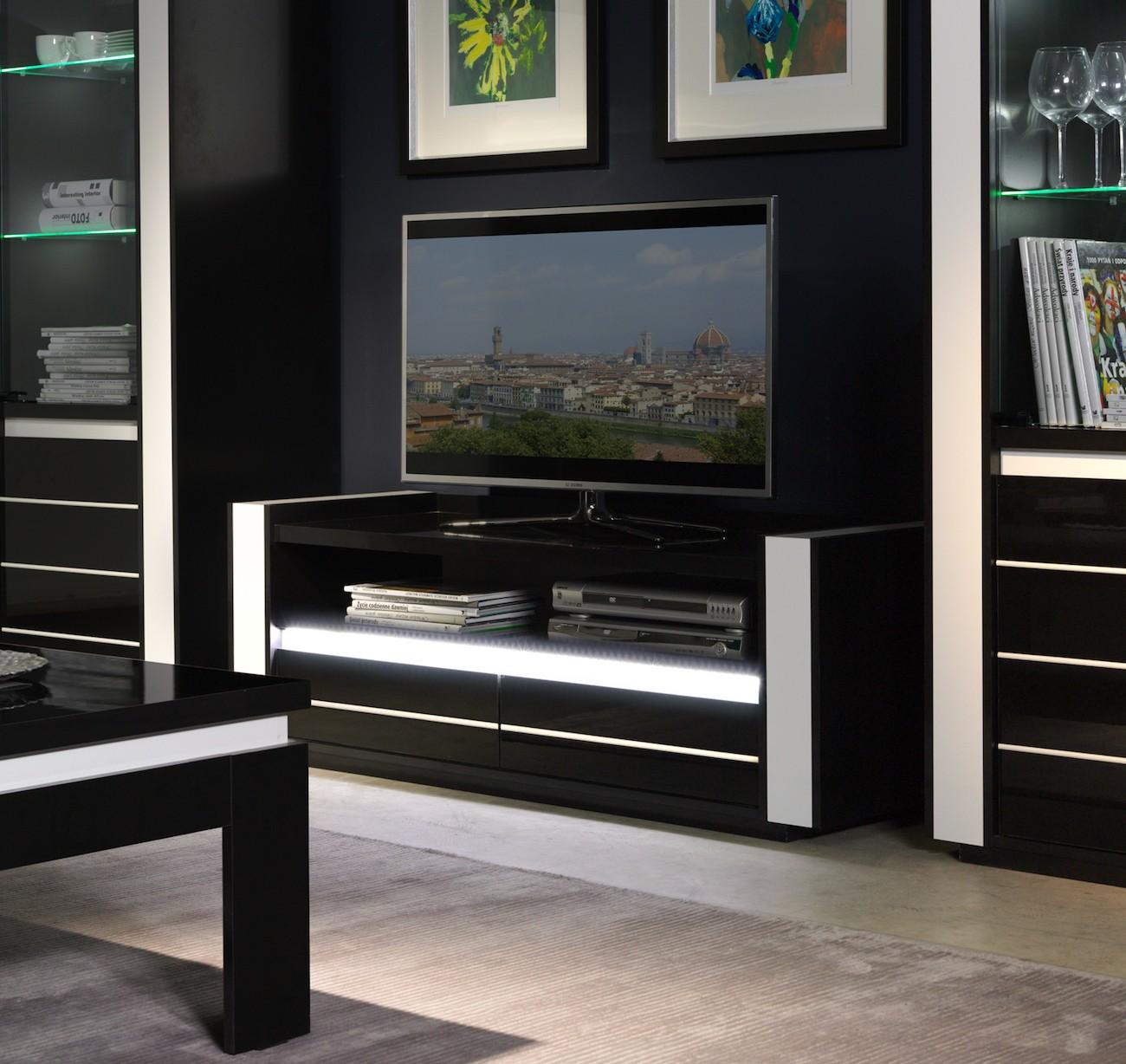 Salon meuble tv lina noir et blanc brillant led for Meuble salon noir et blanc
