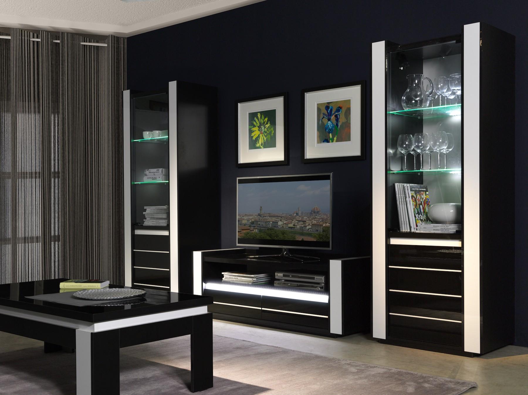 salon meuble tv lina noir et blanc brillant led. Black Bedroom Furniture Sets. Home Design Ideas