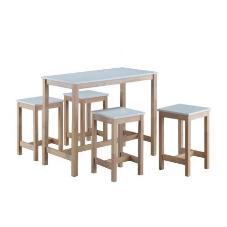 Ensemble table haute, bar + 4 tabourets MOLDE. Set moderne et design type Scandinave.