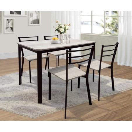 Table de cuisine et salle à manger + 4 chaises LEEDS. Ensemble repas design métal et bois.