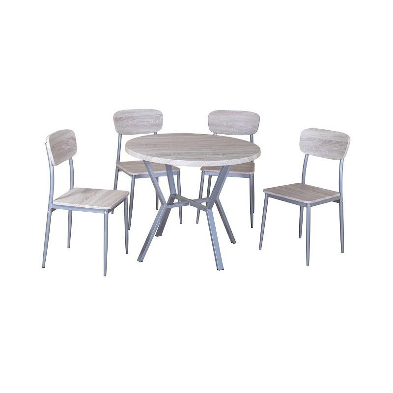 ensemble table et chaises 1 table ronde et 4 chaises. Black Bedroom Furniture Sets. Home Design Ideas