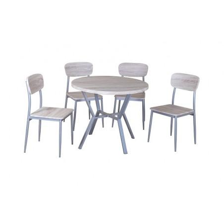 Ensemble table et 4 chaises collection ROUBAIX. Set de cuisine composé d'une table ronde + 4 chaises.