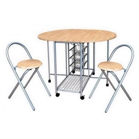Ensemble pliable table ronde et deux chaises. Collection BETA. Idéal pour les petits espaces.