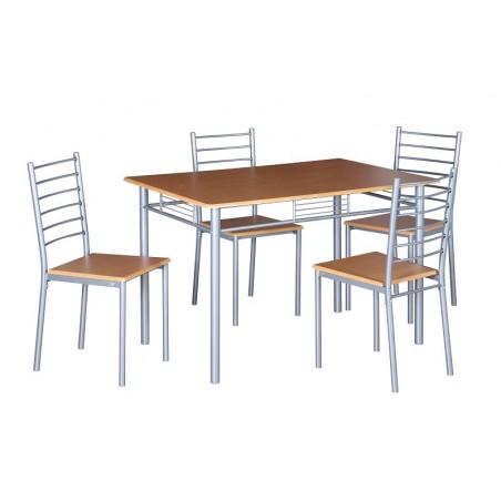 Table de cuisine et salle à manger + 4 chaises ANKARA coloris bois nature. Ensemble repas design métal et bois