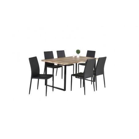 Ensemble 1 table DAVID + 6 chaises NOAH noires. Set idéal pour votre cuisine ou salle à manger
