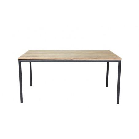 Table 160 cm MOZES - Plateau MDF effet bois naturel et pieds ronds en métal noir.