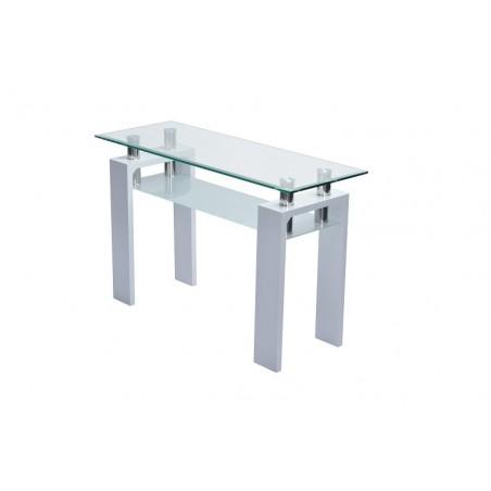 Table, console d'entrée plateau en verre et pieds blancs brillants laqués LUCCA. Look moderne et design.