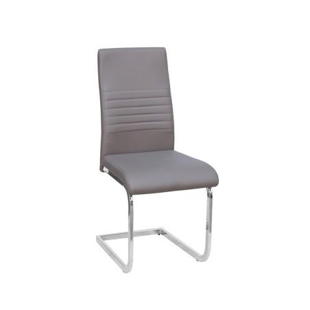 Chaise PAUL design en métal et PU coloris brun (lot de 2)