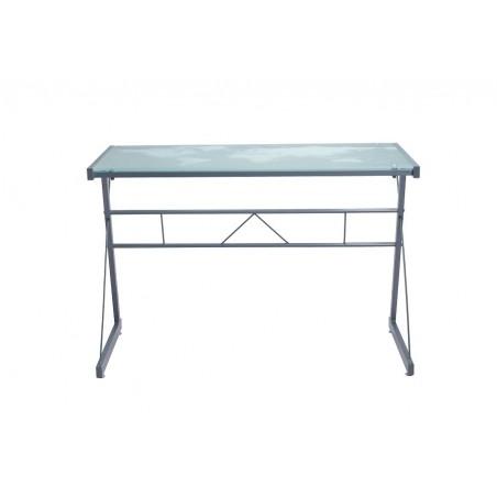 Bureau design PAVIA, plateau en verre trempé sérigraphié et pieds métal.