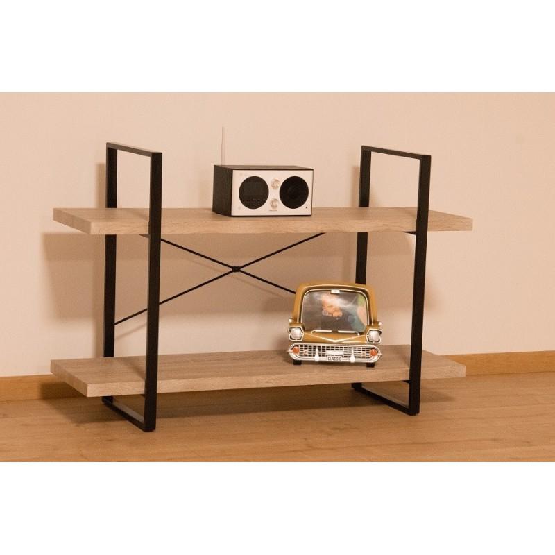 tag re shelves type industrielle bois et m tal 2 niveaux 79 00. Black Bedroom Furniture Sets. Home Design Ideas