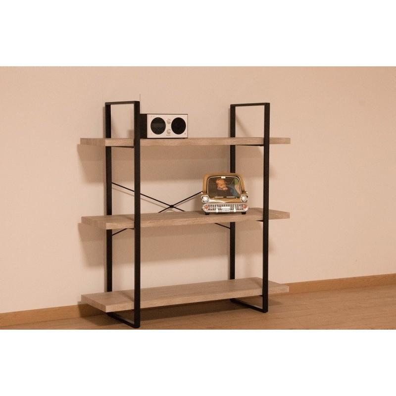 tag re shelves type industrielle bois et m tal 3 niveaux 119 00. Black Bedroom Furniture Sets. Home Design Ideas