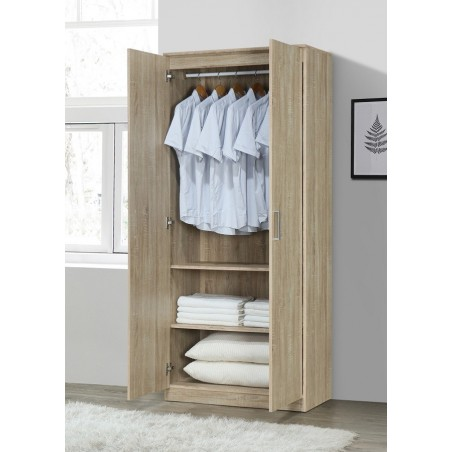 Armoire/Garde robe DALAMAN, 2 portes, contemporaine chêne Sonoma et poignées grises.