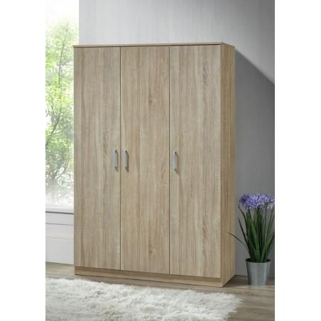 Armoire/Garde robe BERGAMA, 3 portes, contemporaine chêne Sonoma et poignées grises.