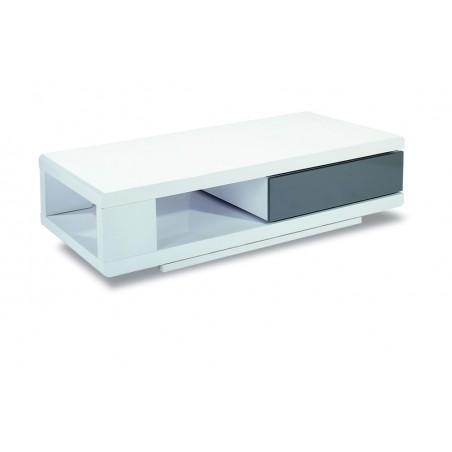 Table basse CADIZ 120 cm avec 1 tiroir, coloris blanc et gris.