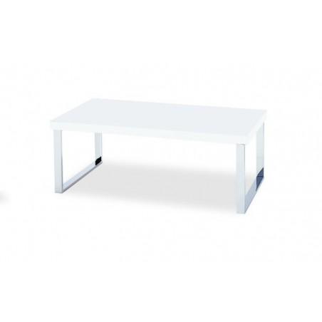 Table basse rectangulaire MALAGA 100 cm blanche et pieds métal brillant.