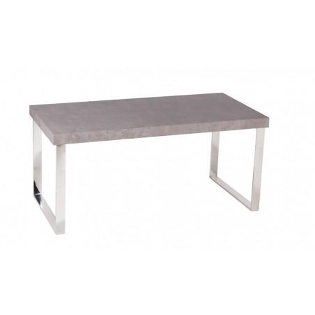 Table basse rectangulaire  GRANADA coloris béton et pieds en acier inoxydable.