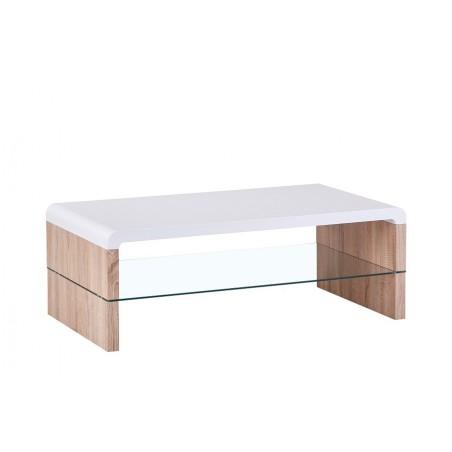 Table basse LISSABON rectangulaire design sous-plateau en verre, coloris blanc et chêne.