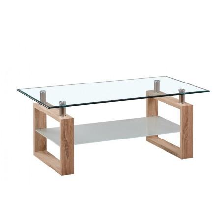 Table basse AMORA rectangulaire design plateau en verre, coloris chêne.