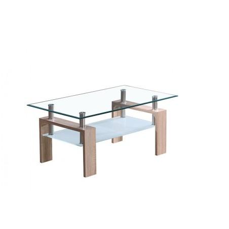 Table basse MADEIRA rectangulaire design plateau en verre et sous-plateau en verre sablé, pieds coloris chêne.