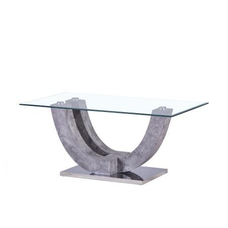 Table basse LAGOS rectangulaire design plateau en verre et support effet béton.