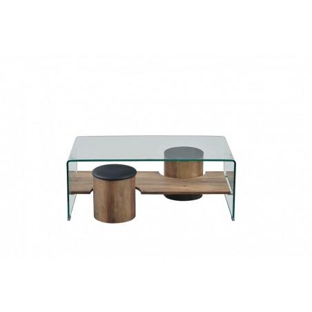 Table basse AREZZO rectangulaire design plateau en verre courbé, sous plateau bois et deux tabourets encastrés.