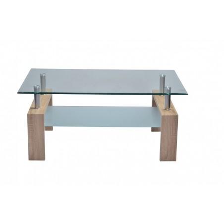 Table basse FLORENCE rectangulaire design plateau en verre et sous-plateau en verre sablé, pieds coloris chêne.