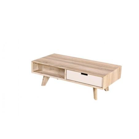 Table basse ZARAGOZA avec 2 tiroirs, coloris bois et blanc.