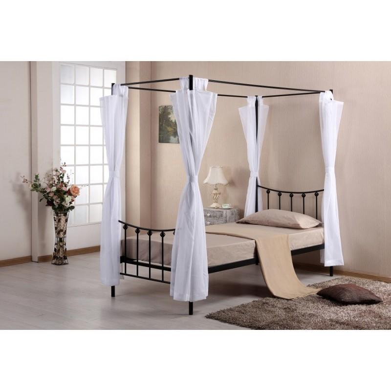 lit lit baldaquin 90 x 200 cm en m tal coloris noir et voilage blan. Black Bedroom Furniture Sets. Home Design Ideas