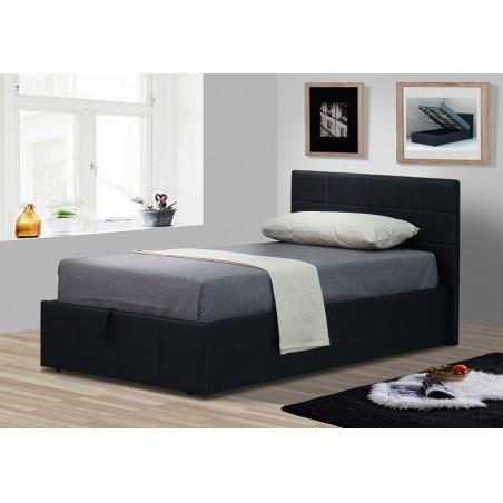 Lit CHANEL 90x200 cm avec coffre de rangement en simili cuir et coloris noir. Sommier inclus.
