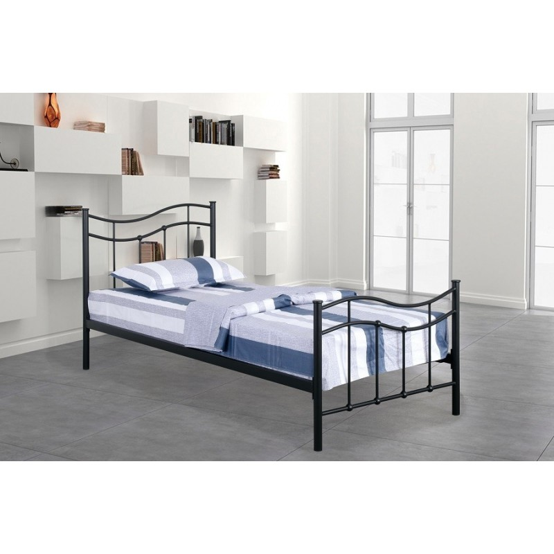 lit lit odette 90x200 cm en m tal coloris noir avec sommier. Black Bedroom Furniture Sets. Home Design Ideas