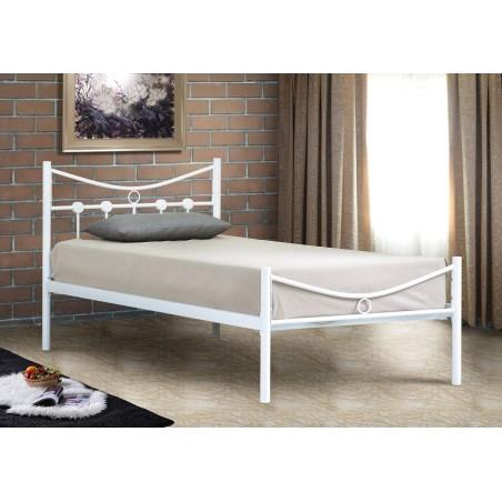 Lit PATRICK 90x200 cm en métal coloris blanc avec sommier.