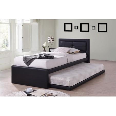 Lit avec tiroir-lit RODAN 90x200 cm en simili cuir coloris noir, sommier inclus.