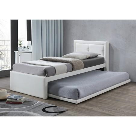 Lit avec tiroir-lit RODAN 90x200 cm en simili cuir coloris blanc, sommier inclus.